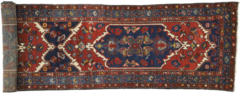 Antique Persian Hamadan Extra-Long Hallway Runner with English Manor Tudor Style For Sale 3