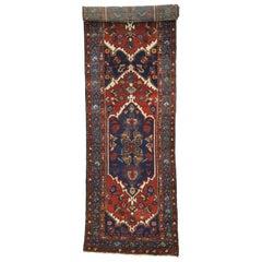Antique Persian Hamadan Extra-Long Hallway Runner with English Manor Tudor Style