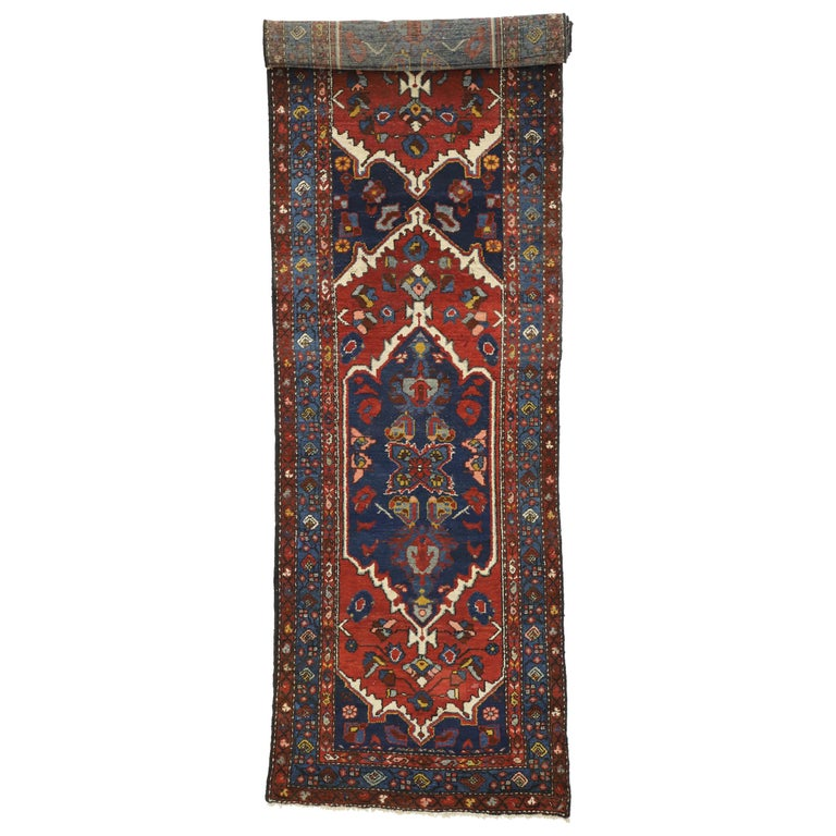 Antique Persian Hamadan Extra-Long Hallway Runner with English Manor Tudor Style For Sale