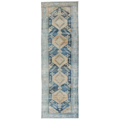 Antique Persian Hamadan Gallery with Medallions in Light Brown, Camel and Blue