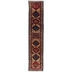 Antique Persian Hamadan Geometric Floral Handwoven Wool Runner