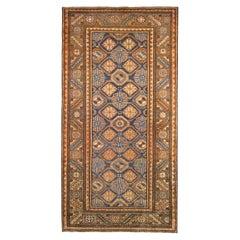 Antique Persian Hamadan Oriental Rug, in Runner Size, Light Blue Field & Repeat