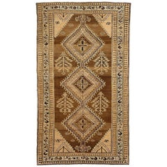 Antique Persian Hamadan Rug with Black and Brown Floral Details
