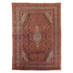 Antique Persian Hamadan Rug with Black and Red Floral Details on Ivory Field