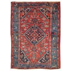 Antique Persian Hamadan Rug with Colorful Geometric Medallion Design