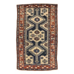 Antique Persian Hamadan Rug with Gray and Beige Flower Details on Black Field