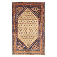 Antique Persian Hamadan Rug with Large Flower Medallion on Center Field