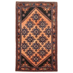 Antique Persian Hamadan Rug with Navy and Brown Floral Details on Black Field