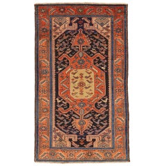 Antique Persian Hamadan Rug with Red and Gray Central Medallion, circa 1920s