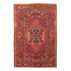 Antique Persian Hamadan Rug with Red and Navy Floral Details