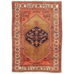 Antique Persian Hamadan Rug with Red & Black Florals on Beige & Orange Field