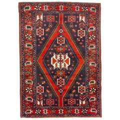 Antique Persian Hamadan Rug with Red, White and Blue Geometric Patterns