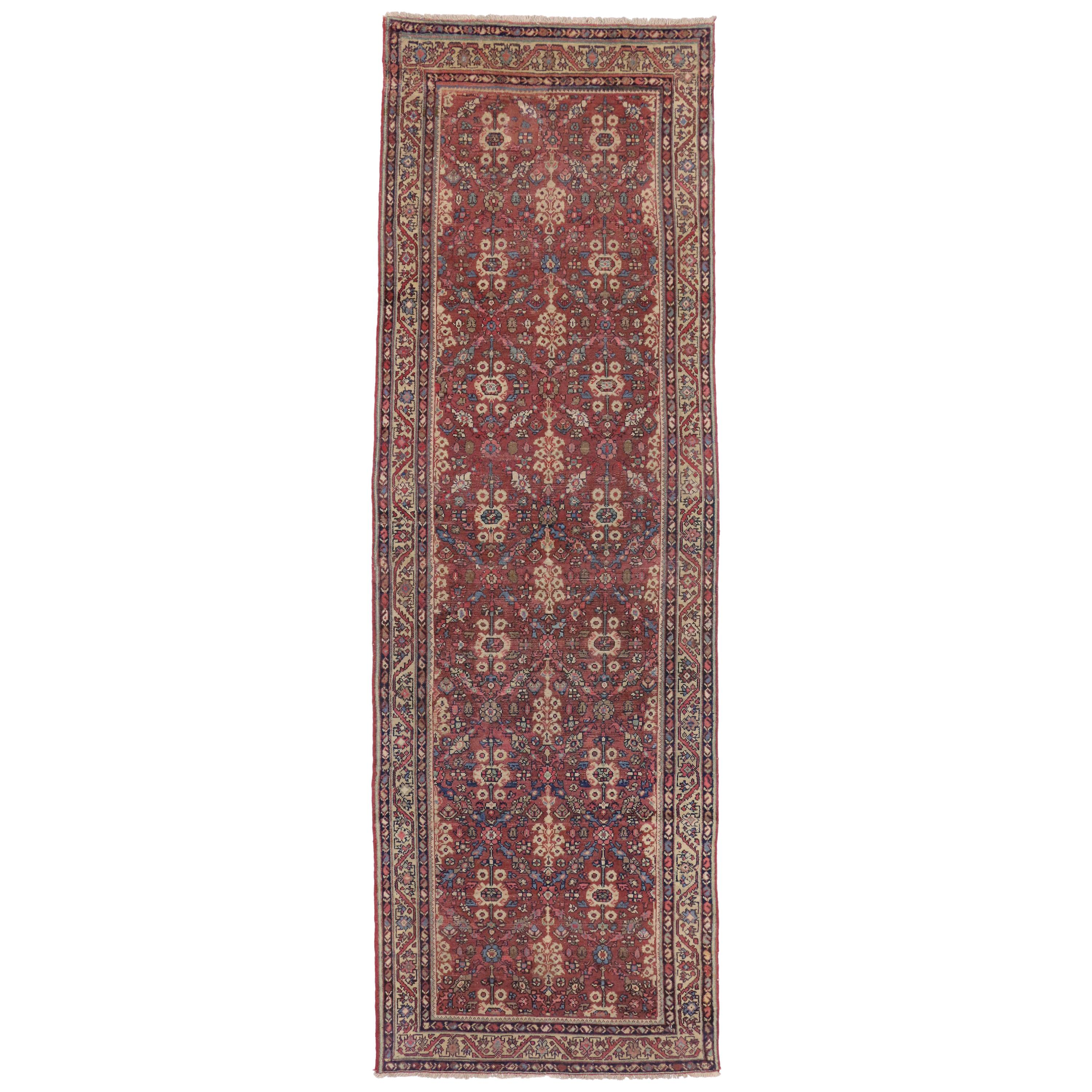 Antique Persian Hamadan Runner with Guli Hinnai Flower, Persian Hallway Runner