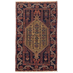 Antique Persian Hamedan Rug with Blue and Red Floral Patterns on Black Field