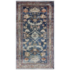 Antique Persian Hamedan Rug with Dark Blue Field and Stylized Floral Design