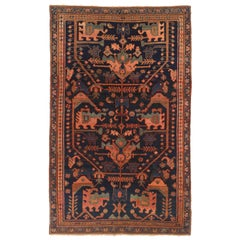 Antique Persian Hamedan Rug with Red and Green Mixed Animal and Floral Patterns