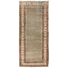 Antique Persian Hamedan Wide Runner with All-Over Design in Unique Color Tone