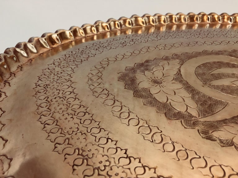 Antique Persian Hammered Oval Brass Tray For Sale 7