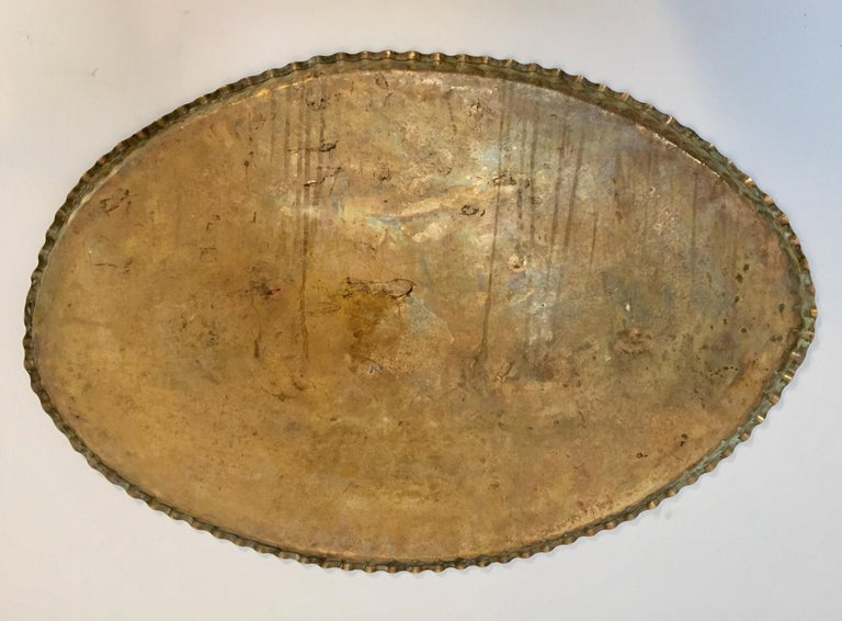 Antique Persian Hammered Oval Brass Tray For Sale 14