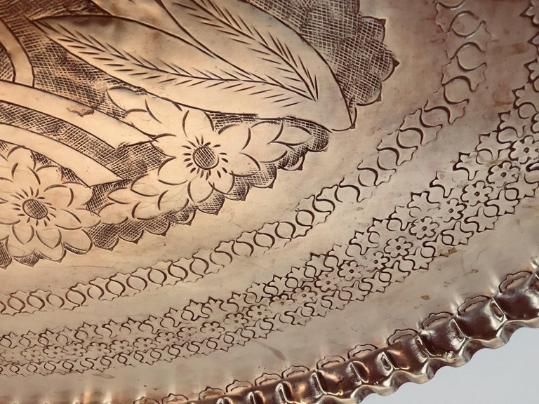 Antique Persian Hammered Oval Brass Tray In Good Condition For Sale In North Hollywood, CA