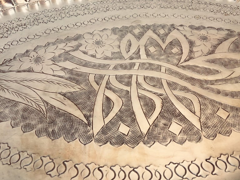 Antique Persian Hammered Oval Brass Tray For Sale 3