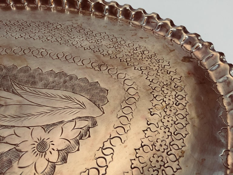 Antique Persian Hammered Oval Brass Tray For Sale 4