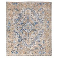 Antique Persian Heriz Beige and Blue Handmade Medallion Designed Wool Rug