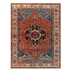 Antique Persian Heriz Blue, Brown, Red and White Handwoven Wool Rug