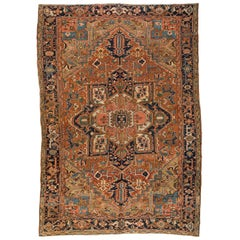 Antique Brown and Navy Blue Geometric Persian Heriz Rug circa 1920-1930s
