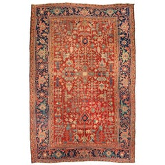 Antique Persian Red Navy Blue and Gold Geometric Heriz Rug circa 1920-1930s