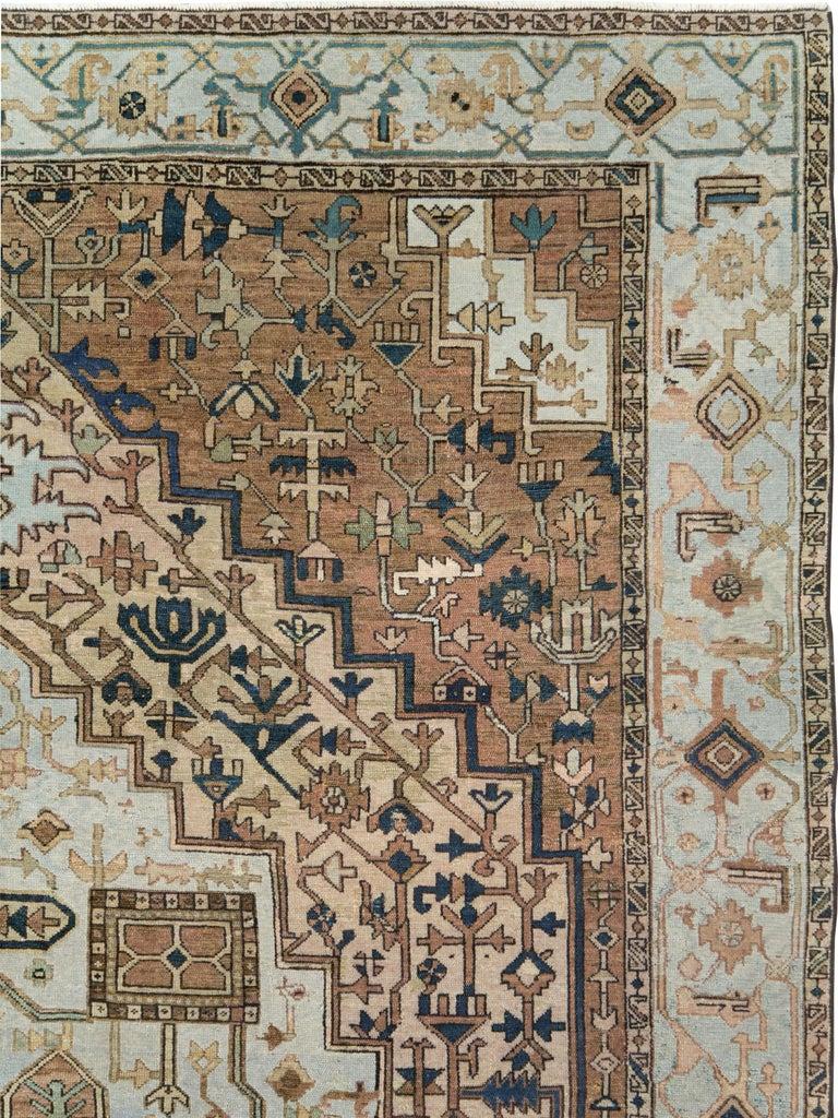 Rustic Antique Persian Heriz Carpet For Sale