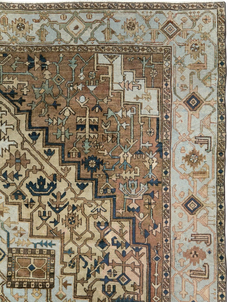 Hand-Knotted Antique Persian Heriz Carpet For Sale