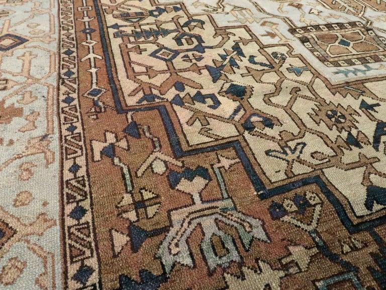 Wool Antique Persian Heriz Carpet For Sale