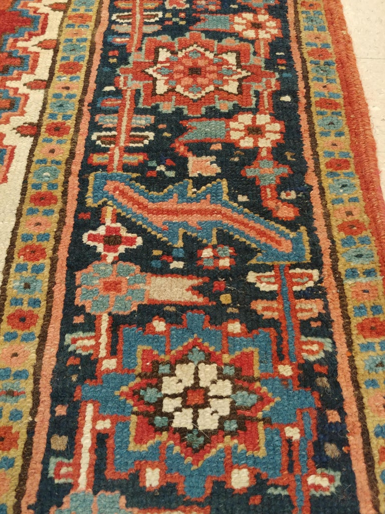 Antique Persian Heriz Carpet, Handmade Wool Oriental Rug, Rust, Navy, Lt Blue For Sale 4