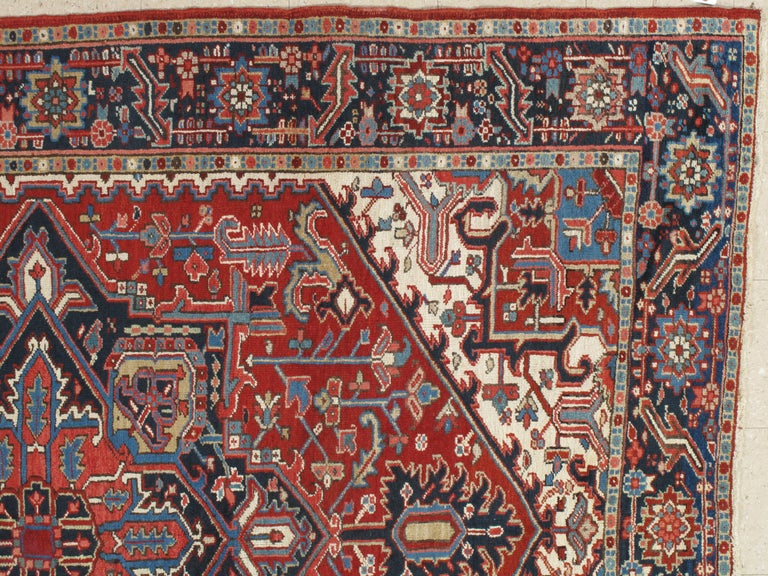 Heriz Serapi Antique Persian Heriz Carpet, Handmade Wool Oriental Rug, Rust, Navy, Lt Blue For Sale