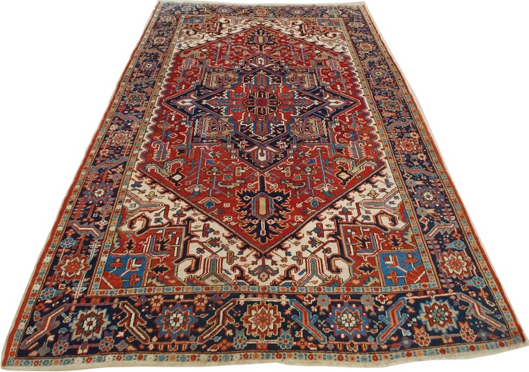 Hand-Knotted Antique Persian Heriz Carpet, Handmade Wool Oriental Rug, Rust, Navy, Lt Blue For Sale