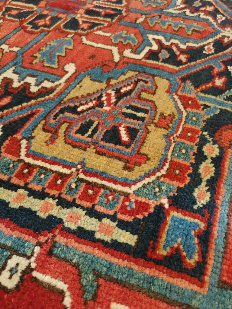 20th Century Antique Persian Heriz Carpet, Handmade Wool Oriental Rug, Rust, Navy, Lt Blue For Sale