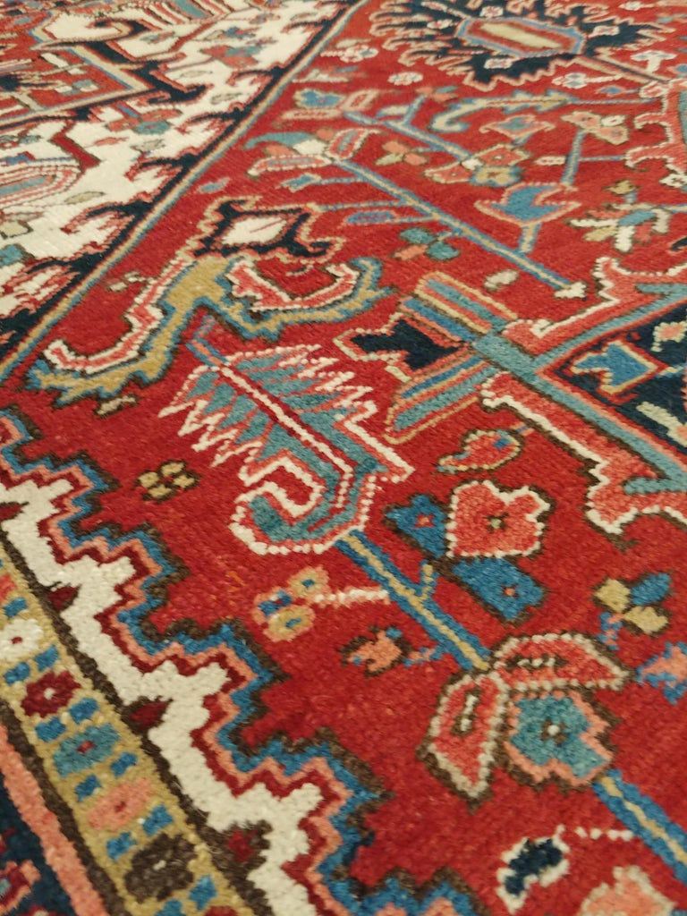 Antique Persian Heriz Carpet, Handmade Wool Oriental Rug, Rust, Navy, Lt Blue For Sale 1