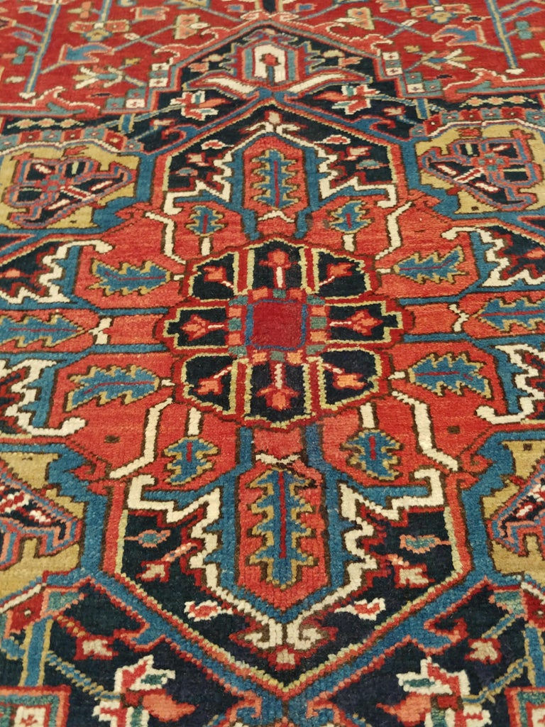 Antique Persian Heriz Carpet, Handmade Wool Oriental Rug, Rust, Navy, Lt Blue For Sale 2