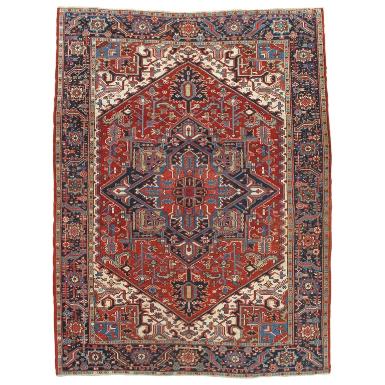 Antique Persian Heriz Carpet, Handmade Wool Oriental Rug, Rust, Navy, Lt Blue For Sale