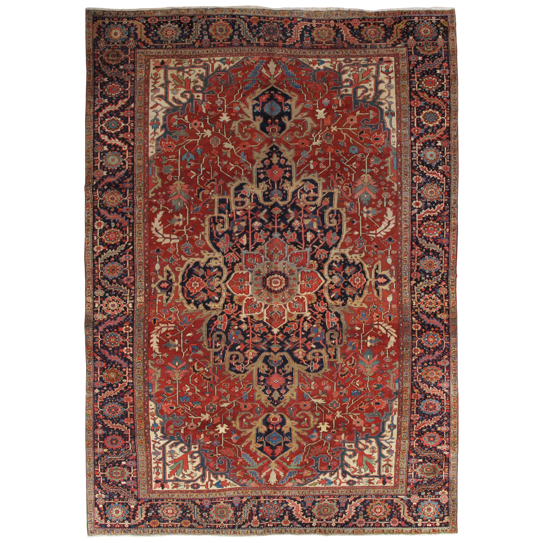 Antique Persian Heriz Carpet, Handmade Wool Oriental Rug, Rust, Navy, Lt Blue