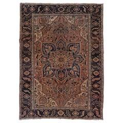 Antique Persian Heriz Carpet, Rose Field
