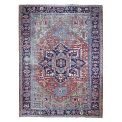 Antique Persian Heriz Clean And Worn But No Holes Hand Knotted Oriental Rug