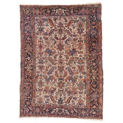 Antique Persian Heriz Dragon Rug with Mid-Century Modern Style