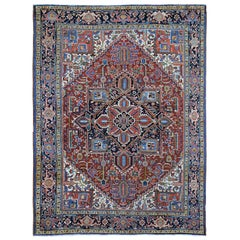 Antique Persian Heriz Full Pile Hand Knotted Oriental Rug