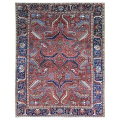 Antique Persian Heriz Geometric All Over Design Wool Hand Knotted Oriental Rug