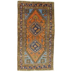 Antique Persian Heriz, Geometric Design, Rust with Blue Wool, 1915