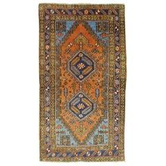 Antique Persian Heriz, Geometric Design, Rust with Blue Wool, 1915