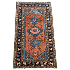 Antique Persian Heriz, Geometric Design, Rust with Blue Wool, Scatter Size, 1915