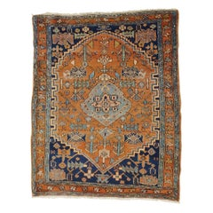 Antique Persian Heriz Geometric Design Soft Rust, Wool, Scatter Size, 1915
